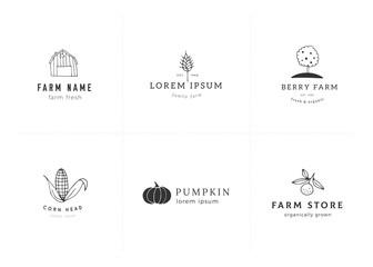 Farm logo templates set. Vector hand drawn objects.