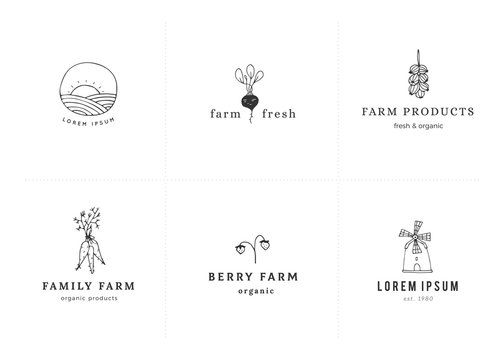 Vector farm logo templates set. Minimal hand drawn objects.