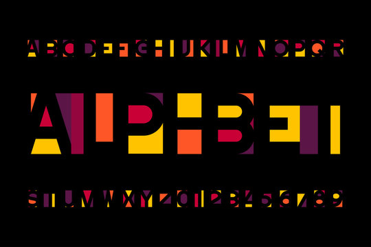 Abstract colorful alphabet font. Bright type letters and numbers in modern style. Stock vector typescript for your design.