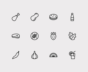 Food icons set. Garlic and food icons with juice, salad and peanut. Set of beverage for web app logo UI design.
