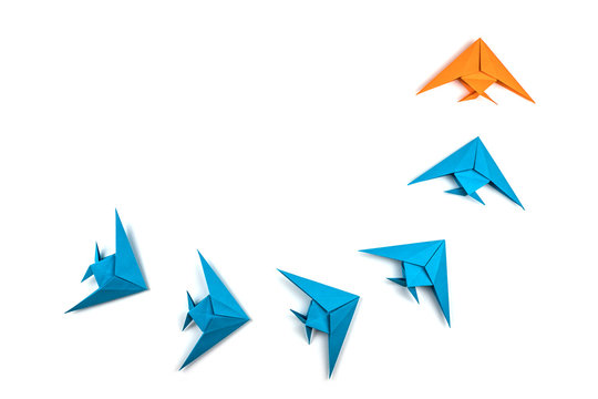 Paper origami fishes isolated on white background.