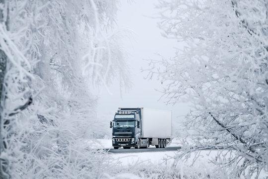 winter road transportation truck.