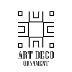 Geometric ornamental retro vintage deco art logo for design and decoration. Vintage retro ornamental art deco design. Retro art for beautiful design.