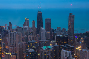Fototapete - Chicago. Cityscape image of Chicago downtown during twilight blue hour.