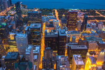 Wall Mural - Chicago skyline aerial view at dusk, United States
