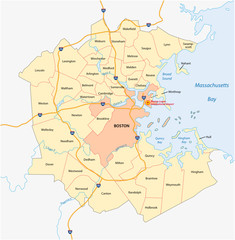 vector map of the Greater Boston metropolitan region, Massachusetts, united states