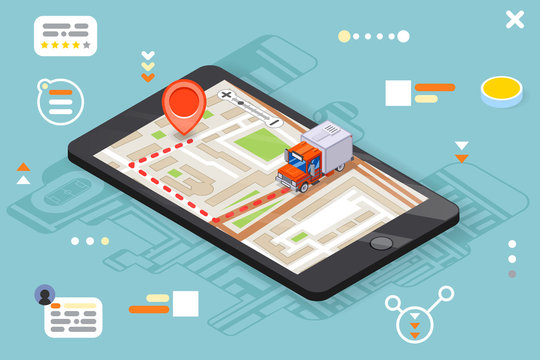 Logistic mobile delivery tracking app 3d isometric smartphone truck pin city street map flat design vector illustration