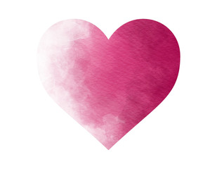 Watercolor heart drawing in dark pink