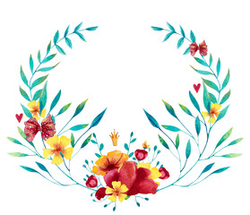 Watercolor blue, red and yellow wreath with flowers, leaves and branches. Hand drawn illustration.
