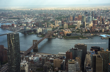Wall Mural - View of Brooklyn bridge in New York city aerial view