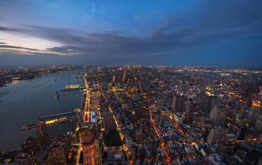 Big Apple after sunset - new york manhattan at night. NYC, USA