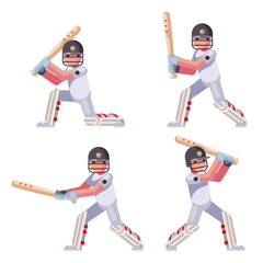 Isolated batting sport game cricket batsman baseball bat ball characters set flat design vector illustration