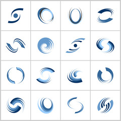 Design elements set. Rotation and spiral movement. Abstract blue icons.