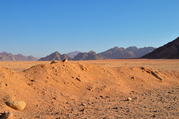 low mountains in the desert area, lit by the morning sun