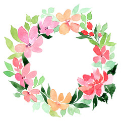 Flowers watercolor wreath, isolated on white background. Perfectly for Mother's Day, wedding, birthday, Easter, Valentine's Day. Pastel colors. Spring. Summer.