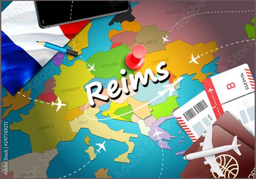 Reims city travel and tourism destination concept. France ...