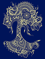 Stylized for mehndi flower colored pattern. Decoration in ethnic oriental, Indian style.