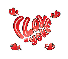 Hand drawn I love you lettering for Valentines Day with red hearts isolated on white background. Vector cartoon illustration.