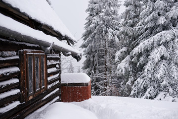 Fototapete - Forest chalet covered in snow during the winter