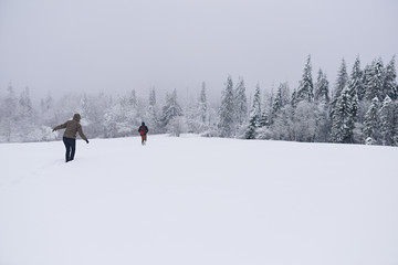 Fototapete - Couple hiking through a snow covered forest clearing