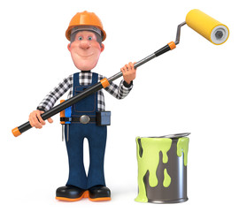 3d illustration Builder worker in overalls/3D illustration of funny engineer character engaged in repair