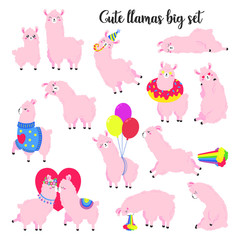Collection of cute vector llamas. Set of stickers, patches. Doodle illustration. Template for cards, textiles, advertising, web design.