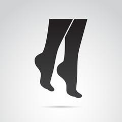 Woman foot, leg vector icon.