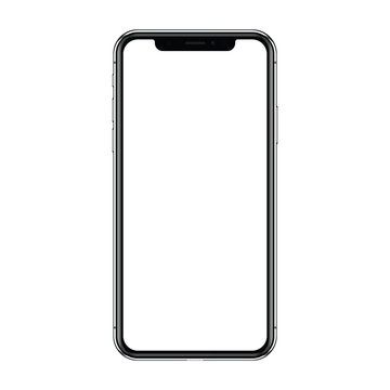 New version of black slim smartphone X with blank screen isolated on a white background. Realistic vector illustration EPS 10