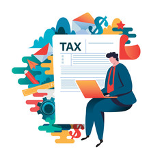 Online tax payment concept, people filling application form tax form. Flat vector illustration. cartoon character graphic design. Landing page template,banner,flyer,poster,web page