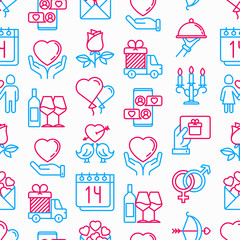 Valentine's day seamless pattern with thin line icons: couple in love, romantic evening, cupid bow, balloons, envelope, gift card, candles, love message, gift delivery. Modern vector illustration.