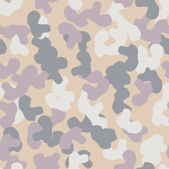 Urban UFO camouflage of various shades of beige, blue, purple and white colors
