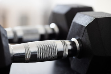 Set of gym dumbbells for a fitness training isolated on a white background
