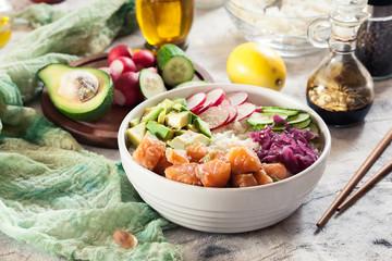 Poke bowl, traditional Hawaiian raw fish salad