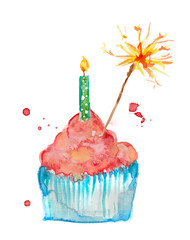 Cupcake watercolor pink painting birthday with candle