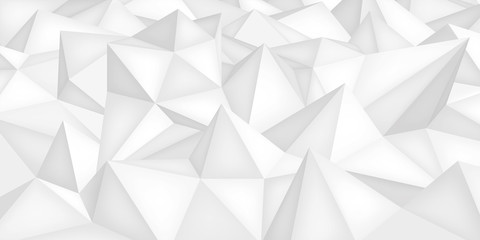 Low polygon shapes, light background, white crystals, triangles mosaic, creative origami wallpaper, templates vector design