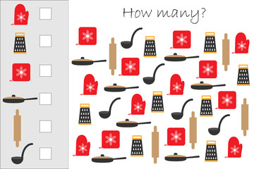 How many counting game with cooking pictures for kids, educational maths task for the development of logical thinking, preschool worksheet activity, count and write the result, vector illustration