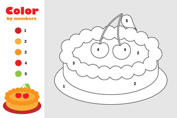 Pie in cartoon style, color by number, education paper game for the development of children, coloring page, kids preschool activity, printable worksheet, vector illustration