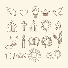 Christian symbols and icons drawn by hand. Biblical vector illustration.