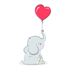 Valentine elephant with heart