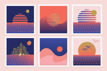Set of retro synthwave illustrations with rising sun