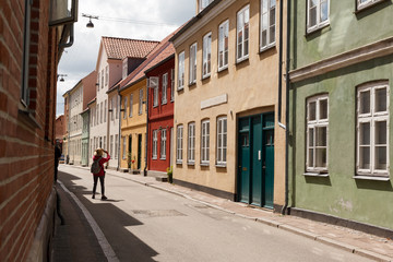 Street in Helsingor with Colorful Houses