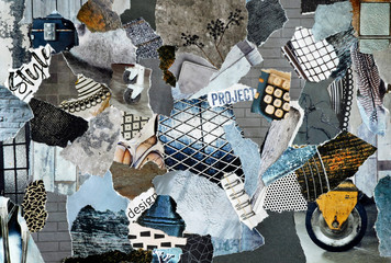 Industrial Collage mood bord in grey blue colors made of teared recycling waste paper of magazines...