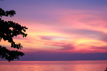 sunset on sea and silhouette tree and colorful cloud evening sky