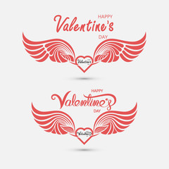 Red heart & hand embrace.Valentines romantic greeting card logo.Love Retro vintage logo style.Love and Heart Care icon.Happy Valentines Day Typography Poster.Handwritten Calligraphy Text.Vector