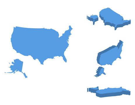 USA isometric map vector illustration, country isolated on a white background.