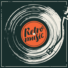 Vector music poster in retro style in form of or worn black cover with old vinyl record, record player and calligraphic lettering Retro music