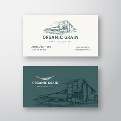Organic Grain Farm Landscape Abstract Vintage Vector Logo and Business Card Template. Village Buildings and Fields with retro Typography. Premium Stationary Realistic Mock Up.
