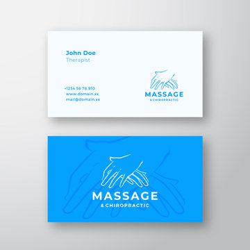 Massage and Chiropractic Abstract Vector Logo and Business Card Template. Massaging Hands Premium Stationary Realistic Mock Up.