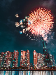 Celebrating the lunar new year in Ho Chi Minh City, Vietnam by observing the huge fireworks show that they have prepared for midnight.  What a spectacular show and display of creativity.