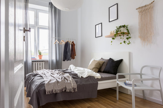 Bedroom in gray and white